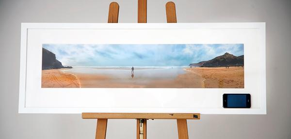nicolas framed panoramic print from her iphone print size 86x19cm frame size 100x35cm